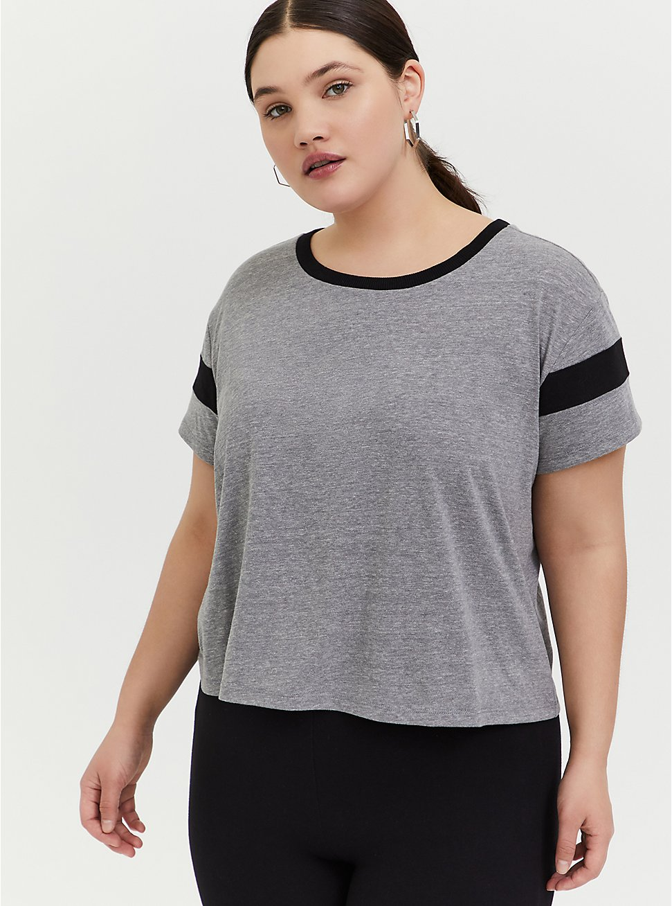 Crop Relaxed Fit Ringer Tee - Triblend Jersey Heather Grey, HEATHER GREY, hi-res