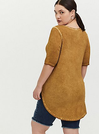 Super Soft Mustard Yellow Favorite Tunic Tee, MUSTARD HEATHER, alternate