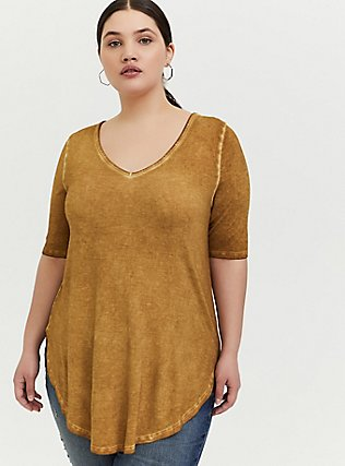 Super Soft Mustard Yellow Favorite Tunic Tee, MUSTARD HEATHER, hi-res