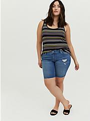 Super Soft Multi Stripe Scoop Neck Layering Tank , MULTI STRIPE, alternate
