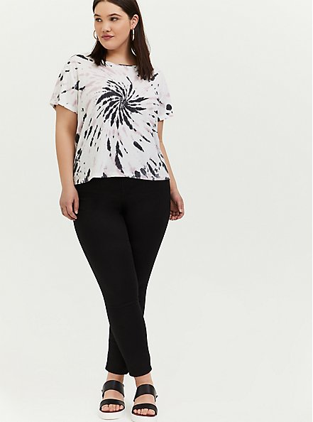 Plus Size Crop Relaxed Fit Tee - Triblend Jersey Tie-Dye White, TIE DYE, alternate