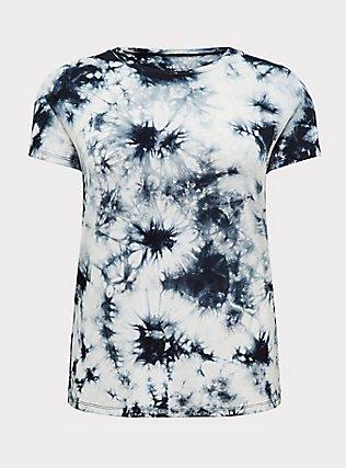 Plus Size Slim Fit Crew Tee - Super Soft Tie Dye Black & White, TIE DYE, flat