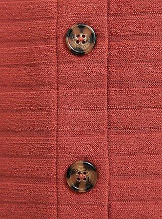 Plus Size Brick Red Rib Button Midi Top, RED  DARK RED, alternate