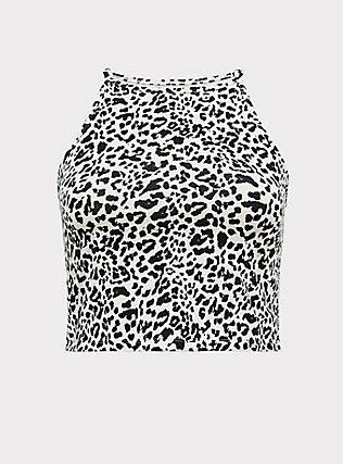 Plus Size Leopard High Neck Crop Foxy Cami, LEOPARD, flat