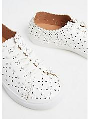 Plus Size White Faux Leather Laser Cut Sneaker (WW), WHITE, alternate
