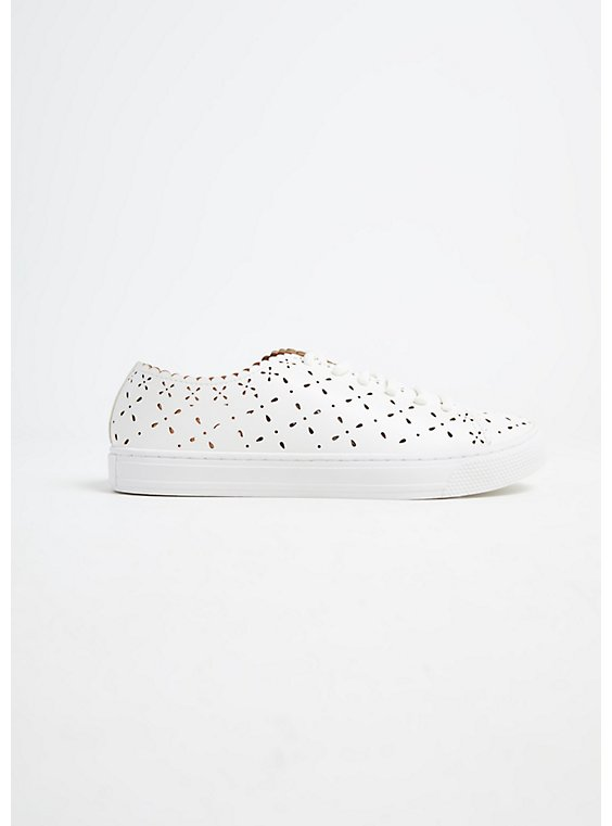 White Faux Leather Laser Cut Sneaker (WW), , hi-res