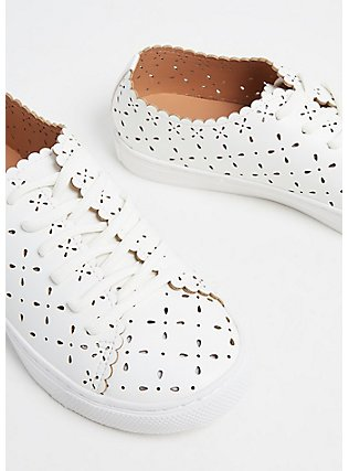 Plus Size White Faux Leather Laser Cut Sneaker (WW), WHITE, ls