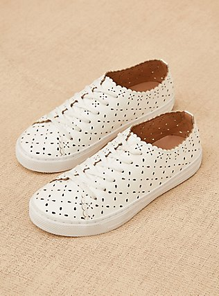 Plus Size White Faux Leather Laser Cut Sneaker (WW), WHITE, pdped