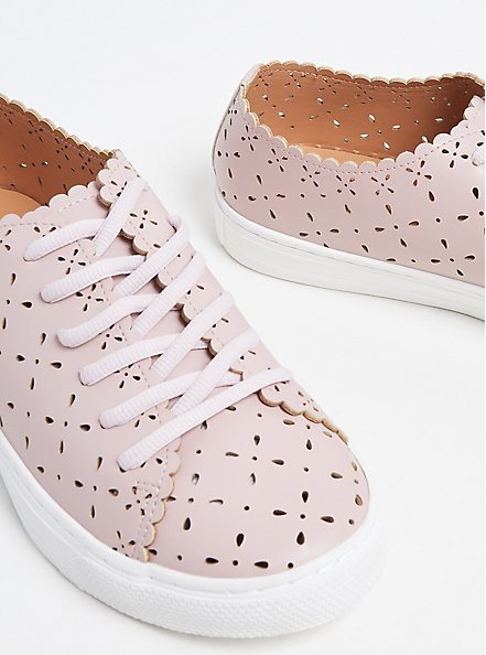 Plus Size Blush Pink Laser Cut Lace-Up Sneaker (WW), BLUSH, alternate