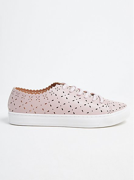 Plus Size Blush Pink Laser Cut Lace-Up Sneaker (WW), BLUSH, hi-res