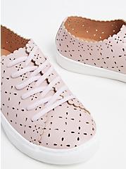 Blush Pink Laser Cut Lace-Up Sneaker (WW), BLUSH, hi-res