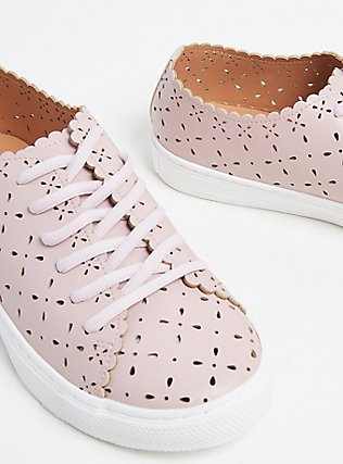 Blush Pink Laser Cut Lace-Up Sneaker (WW), BLUSH, ls