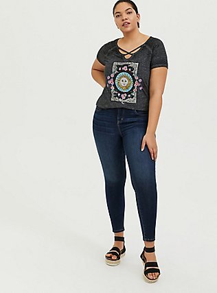 Sun & Moon Black Burnout Strappy Crisscross Raglan Tee, DEEP BLACK, alternate