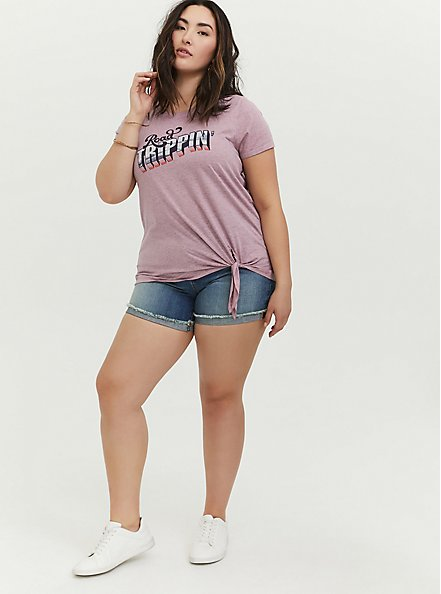 Plus Size Road Trippin' Mauve Pink Tie Front Tee, MAUVE SHADOWS, alternate