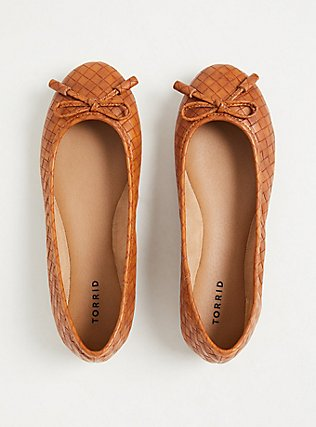 Brown Faux Leather Bow Ballet Flat (WW), COGNAC, alternate