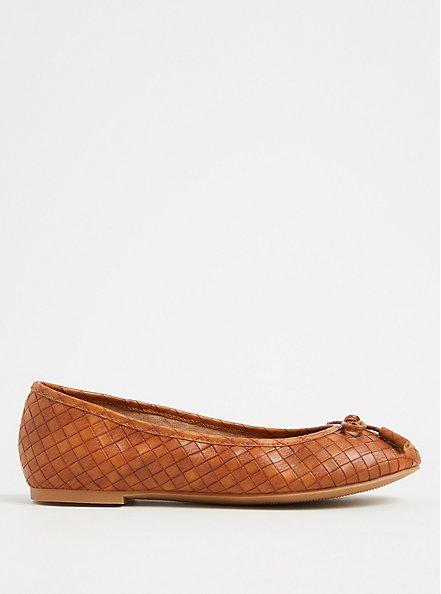 Brown Faux Leather Bow Ballet Flat (WW), COGNAC, alternate