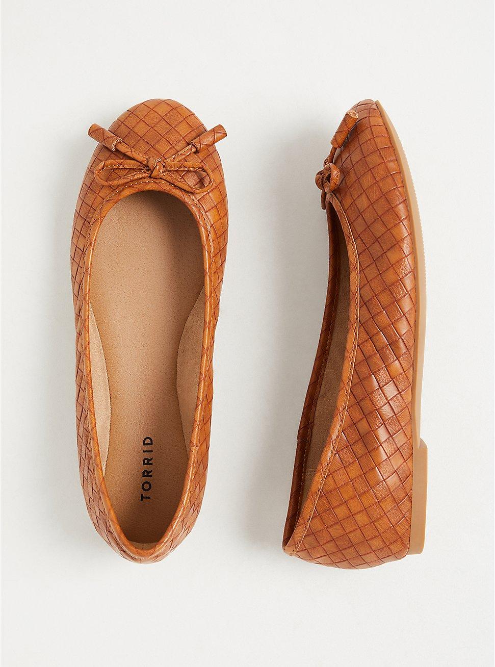 Brown Faux Leather Bow Ballet Flat (WW), COGNAC, hi-res