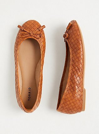 Brown Faux Leather Bow Ballet Flat (WW), COGNAC, hi-res