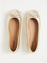 Plus Size Metallic Gold Diamond Faux Leather Bow Ballet Flat (WW), GOLD, alternate