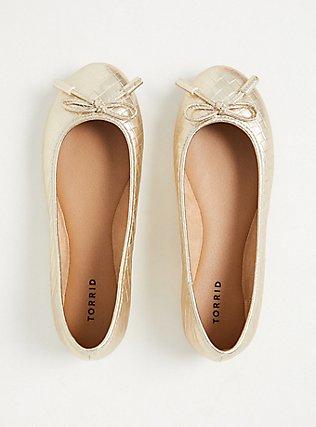 Metallic Gold Diamond Faux Leather Bow Ballet Flat (WW), GOLD, alternate