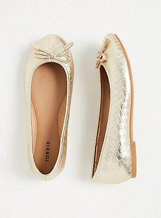 Metallic Gold Diamond Faux Leather Bow Ballet Flat (WW), GOLD, hi-res