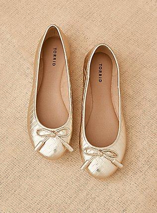 Metallic Gold Diamond Faux Leather Bow Ballet Flat (WW), GOLD, pdped