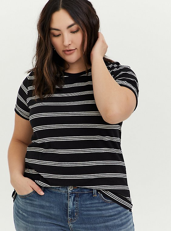 Relaxed Fit Crew Tee - Triblend Stripe Black & White, , hi-res