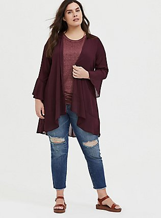 Plus Size Classic Fit Crew Tee - Vintage Burnout Burgundy Purple , WINETASTING, alternate