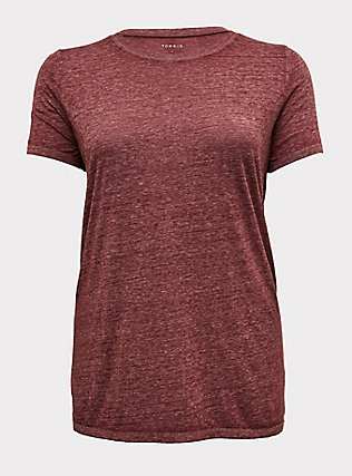 Classic Fit Crew Tee - Vintage Burnout Burgundy Purple , WINETASTING, flat