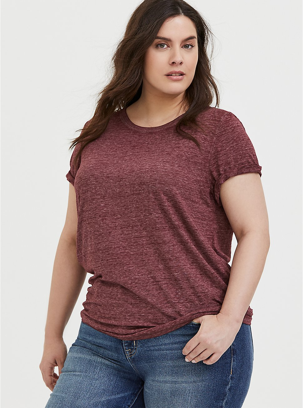 Classic Fit Crew Tee - Vintage Burnout Burgundy Purple , WINETASTING, hi-res