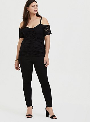 Plus Size Black Lace Cold Shoulder Midi Top, DEEP BLACK, alternate