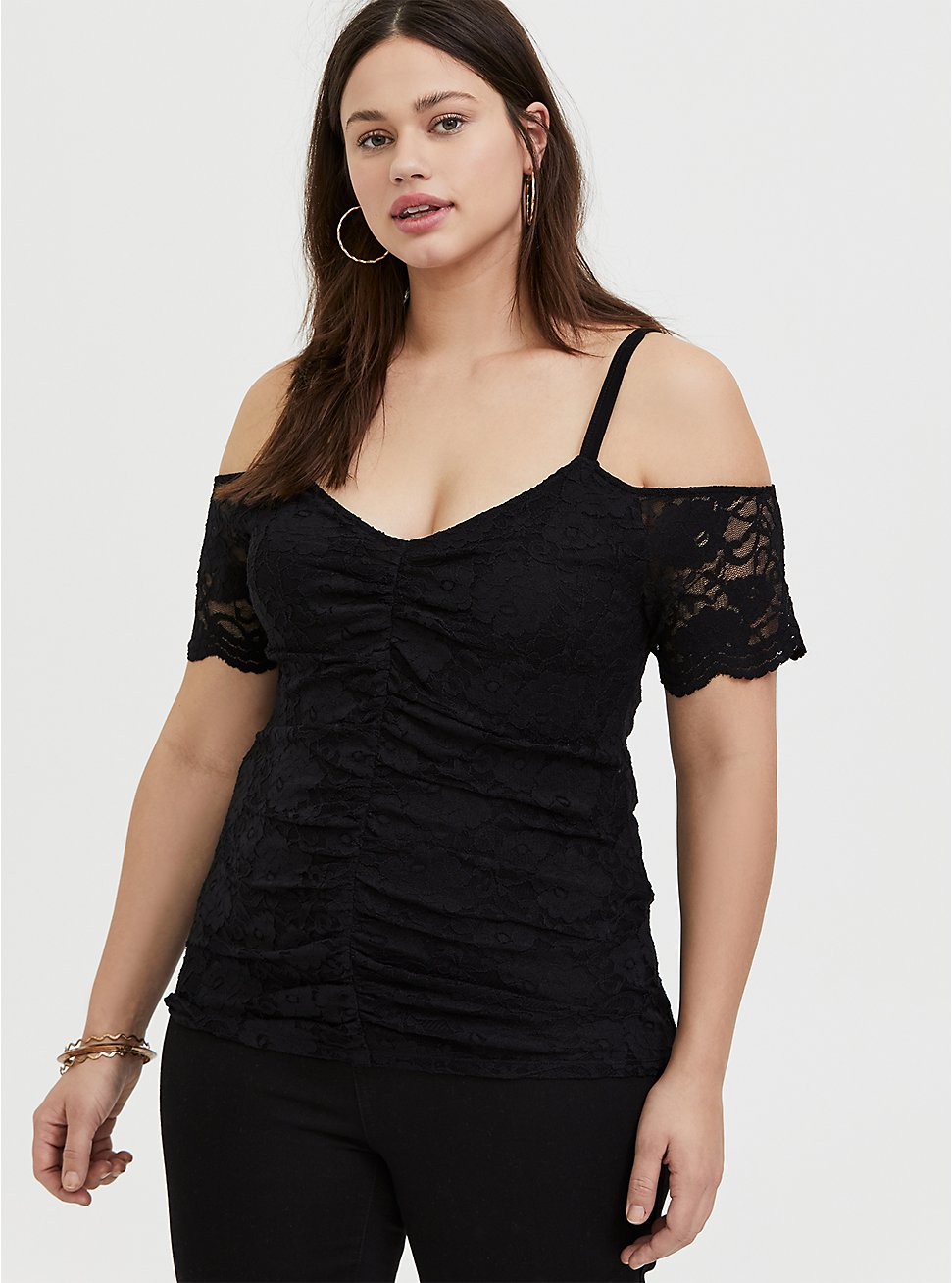 Black Lace Cold Shoulder Midi Top, DEEP BLACK, hi-res