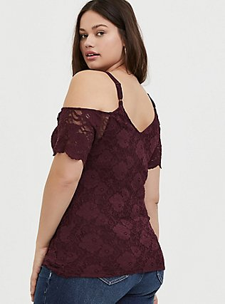 Burgundy Purple Lace Cold Shoulder Midi Top, WINETASTING, alternate