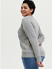 Be Kind Heather Grey Fleece Raglan Sweatshirt, MEDIUM HEATHER GREY, alternate