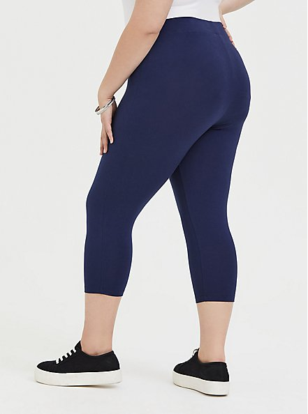 Plus Size Capri Premium Legging - Navy, PEACOAT, alternate
