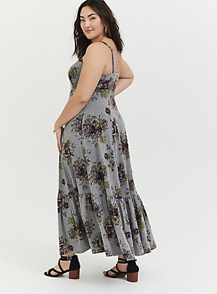 Plus Size Heathered Grey Floral Jersey Shirred Hem Maxi Dress, FLORAL - GREY, alternate
