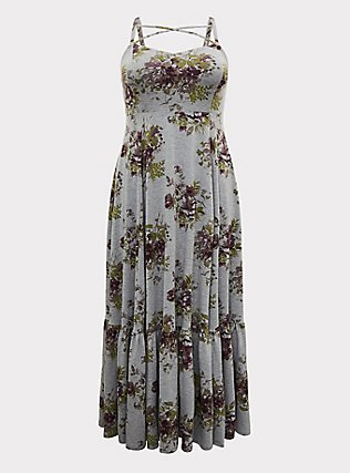 Plus Size Heathered Grey Floral Jersey Shirred Hem Maxi Dress, FLORAL - GREY, flat