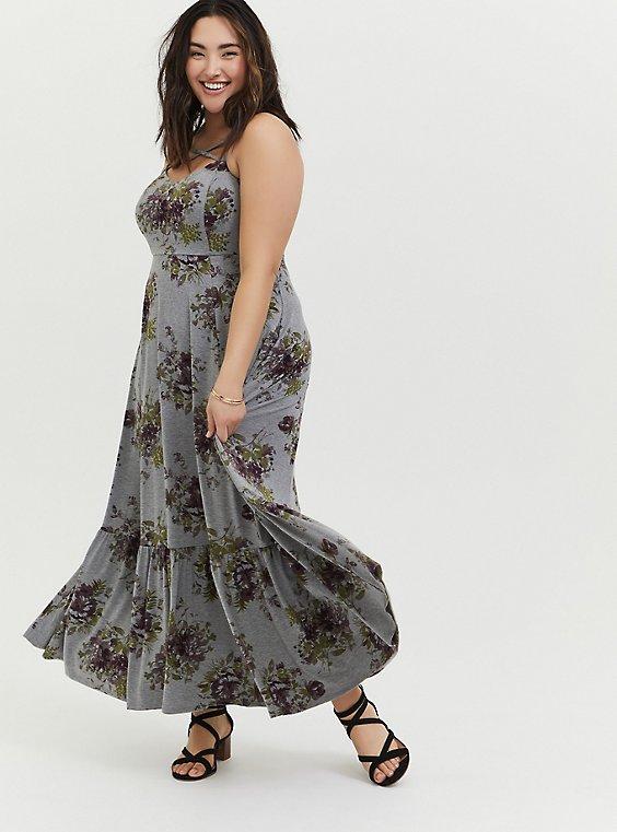 Plus Size Heathered Grey Floral Jersey Shirred Hem Maxi Dress, , hi-res