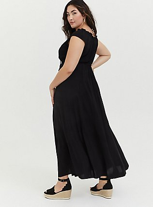 Plus Size Black Challis Drawstring Maxi Dress, DEEP BLACK, alternate