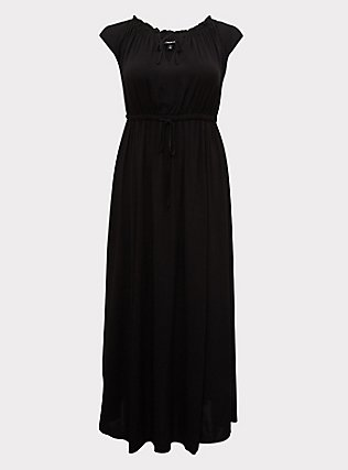 Plus Size Black Challis Drawstring Maxi Dress, DEEP BLACK, flat