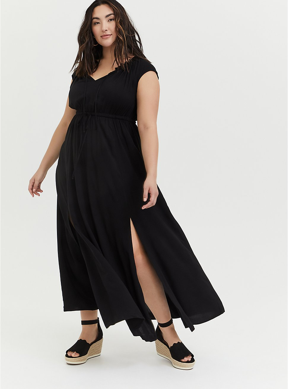 Black Challis Drawstring Maxi Dress, DEEP BLACK, hi-res