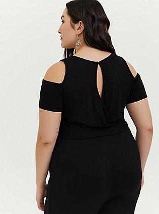 Plus Size Black Jersey Self-Tie Cold Shoulder Jumpsuit, DEEP BLACK, alternate