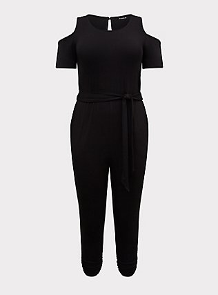 Plus Size Black Jersey Self-Tie Cold Shoulder Jumpsuit, DEEP BLACK, flat