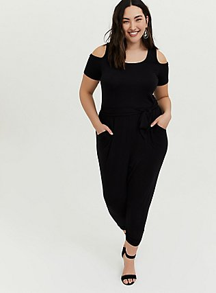 Plus Size Black Jersey Self-Tie Cold Shoulder Jumpsuit, DEEP BLACK, hi-res