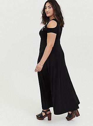 Black Jersey Embroidered Cold Shoulder Maxi Dress, DEEP BLACK, alternate