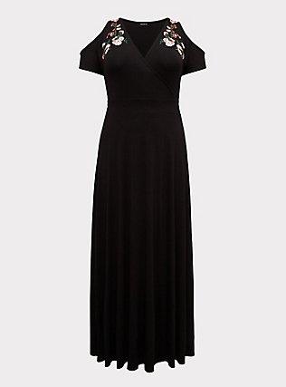 Black Jersey Embroidered Cold Shoulder Maxi Dress, DEEP BLACK, flat
