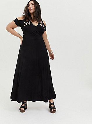 Black Jersey Embroidered Cold Shoulder Maxi Dress, DEEP BLACK, hi-res