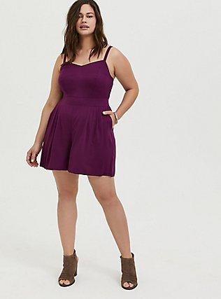 Plus Size Grape Purple Challis Romper, DARK PURPLE, alternate