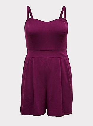 Plus Size Grape Purple Challis Romper, DARK PURPLE, flat