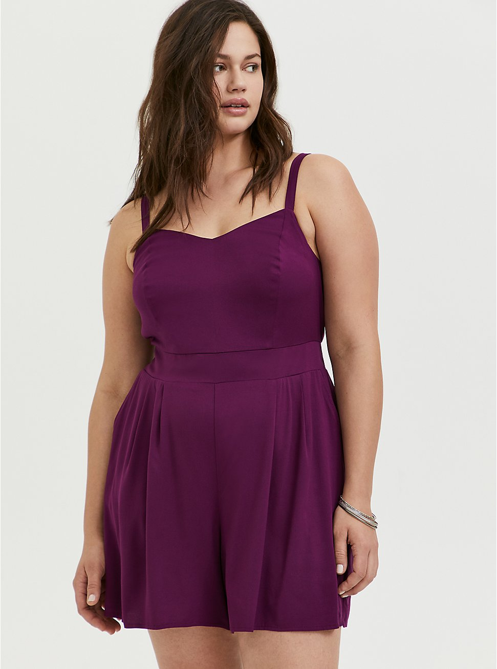Plum Purple Challis Romper, DARK PURPLE, hi-res